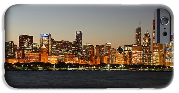 Recently Sold -  - Willis Tower iPhone Cases - Chicago skyline at night panoramic iPhone Case by Michael Paskvan
