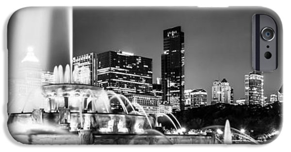 Willis Tower iPhone Cases - Chicago Skyline at Night Panoramic Picture iPhone Case by Paul Velgos
