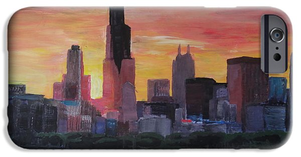 Chicago Paintings iPhone Cases - Chicago Skyline at Sunset iPhone Case by M Bleichner