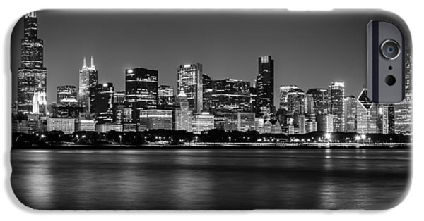Willis Tower iPhone Cases - Chicago Skyline - Black and White iPhone Case by Anthony Doudt
