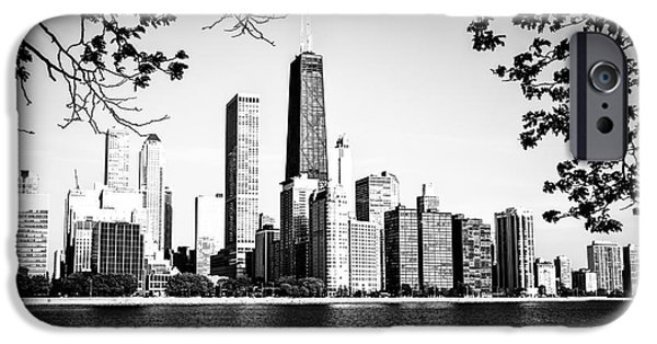Hancock Building iPhone Cases - Chicago Skyline Black and White Picture iPhone Case by Paul Velgos