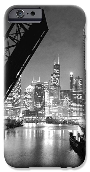 Hancock Building iPhone Cases - Chicago Skyline - Black and White Sears Tower iPhone Case by Horsch Gallery
