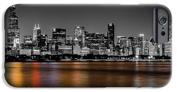 Sears Tower iPhone Cases - Chicago Skyline - Black and White with Color Reflection iPhone Case by Anthony Doudt