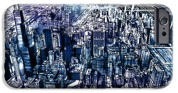 Willis Tower iPhone Cases - Chicago Skyline Black Verson iPhone Case by MB Art factory