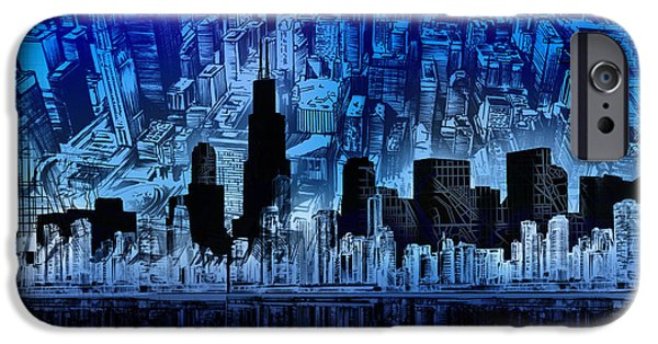 Willis Tower iPhone Cases - Chicago Skyline Blue Version iPhone Case by MB Art factory