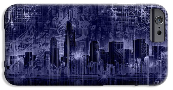 Willis Tower iPhone Cases - Chicago Skyline Blueprint iPhone Case by MB Art factory