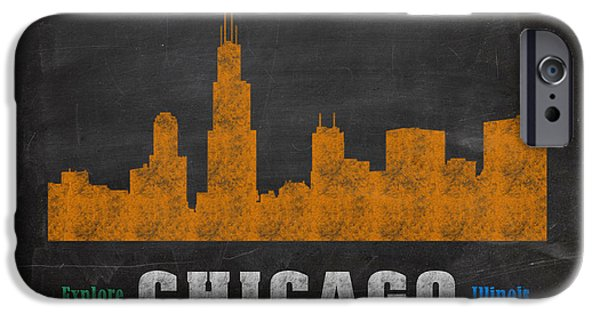 Skylines Mixed Media iPhone Cases - Chicago Skyline Chalkboard Chalk Art iPhone Case by Design Turnpike