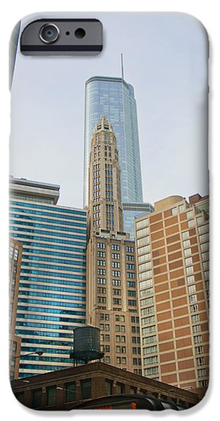 Old Chicago Water Tower iPhone Cases - Chicago Skyline iPhone Case by Cynthia Stephens