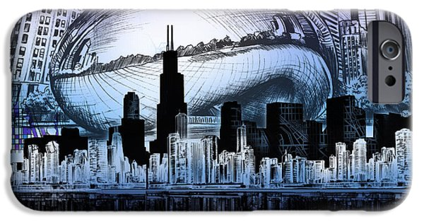 Willis Tower iPhone Cases - Chicago Skyline Drawing Collage 2 iPhone Case by MB Art factory
