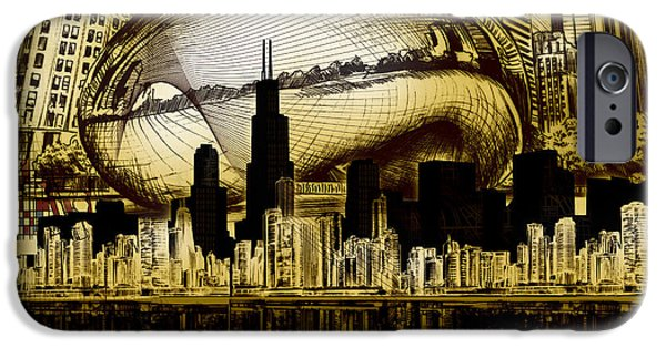 Willis Tower iPhone Cases - Chicago Skyline Drawing Collage 3 iPhone Case by MB Art factory