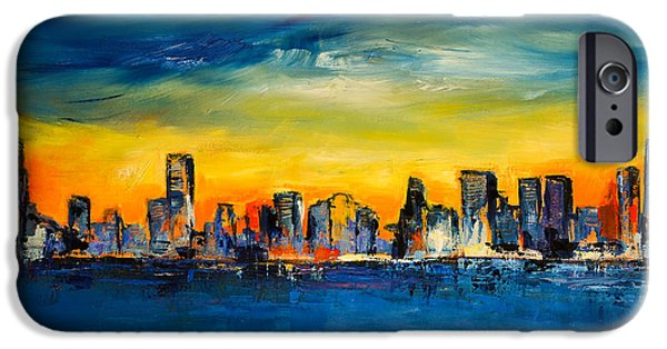 Chicago Paintings iPhone Cases - Chicago Skyline iPhone Case by Elise Palmigiani