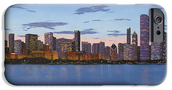 Chicago Paintings iPhone Cases - Chicago Skyline -- Evening Approaches iPhone Case by J Loren Reedy