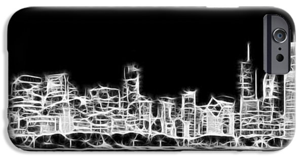 Lake Shore Drive iPhone Cases - Chicago Skyline Fractal Black and White iPhone Case by Adam Romanowicz