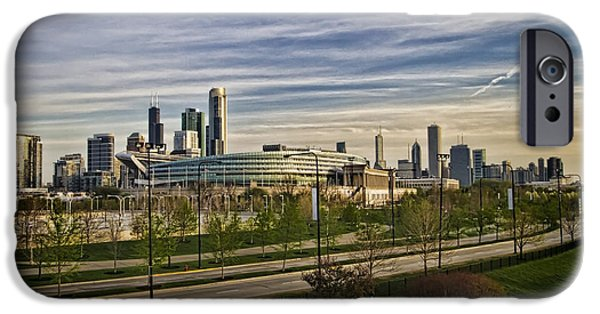 Soldier Field iPhone Cases - Chicago Skyline from the sledding hill iPhone Case by Sven Brogren