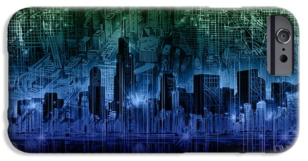 Willis Tower iPhone Cases - Chicago Skyline Gradient Version iPhone Case by MB Art factory