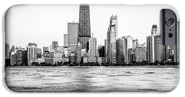 Hancock Building iPhone Cases - Chicago Skyline Hancock Building Black and White Photo iPhone Case by Paul Velgos