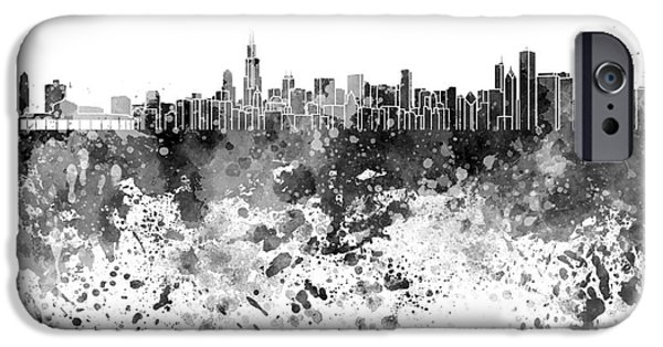 Chicago Paintings iPhone Cases - Chicago skyline in black watercolor on white background iPhone Case by Pablo Romero