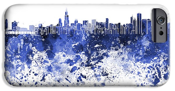 Chicago Paintings iPhone Cases - Chicago skyline in blue watercolor on white background iPhone Case by Pablo Romero