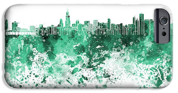 Chicago Paintings iPhone Cases - Chicago skyline in green watercolor on white background iPhone Case by Pablo Romero
