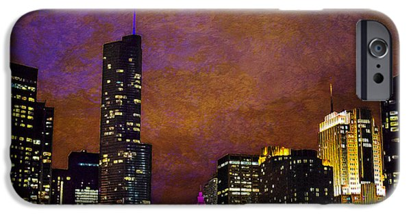 Wrigley iPhone Cases - Chicago Skyline In Jewel Tones iPhone Case by Jeanette Brown