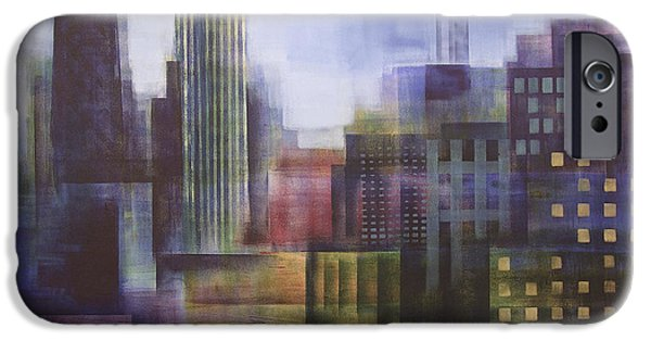 Chicago Paintings iPhone Cases - Chicago Skyline - In Neutral Tones iPhone Case by Joseph Catanzaro