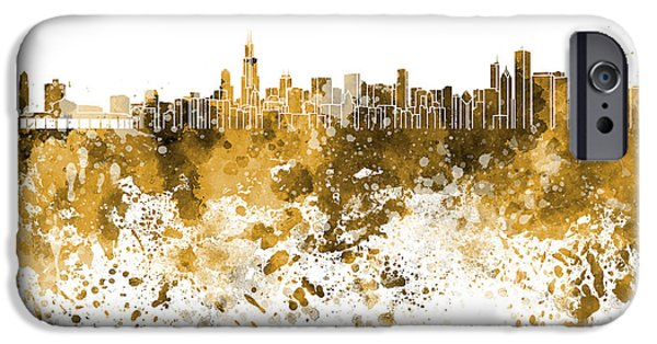 Chicago Paintings iPhone Cases - Chicago skyline in orange watercolor on white background iPhone Case by Pablo Romero