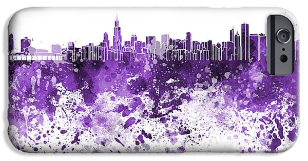 Chicago Paintings iPhone Cases - Chicago skyline in purple watercolor on white background iPhone Case by Pablo Romero