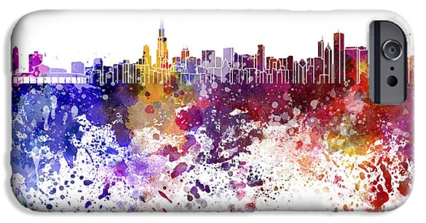 Chicago Paintings iPhone Cases - Chicago skyline in watercolor on white background iPhone Case by Pablo Romero