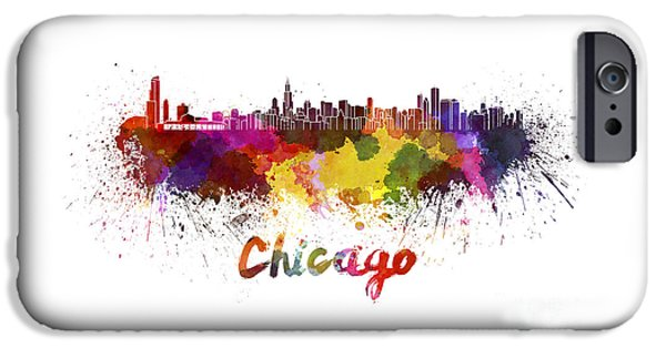 Chicago Paintings iPhone Cases - Chicago skyline in watercolor iPhone Case by Pablo Romero