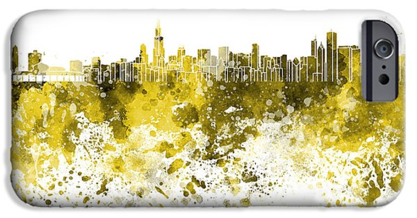 Chicago Paintings iPhone Cases - Chicago skyline in yellow watercolor on white background iPhone Case by Pablo Romero