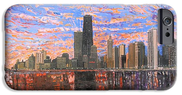 Chicago Paintings iPhone Cases - Chicago Skyline - Lake Michigan iPhone Case by Mike Rabe