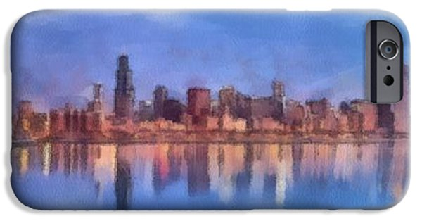 Chicago Paintings iPhone Cases - Chicago Skyline iPhone Case by Maciej Froncisz