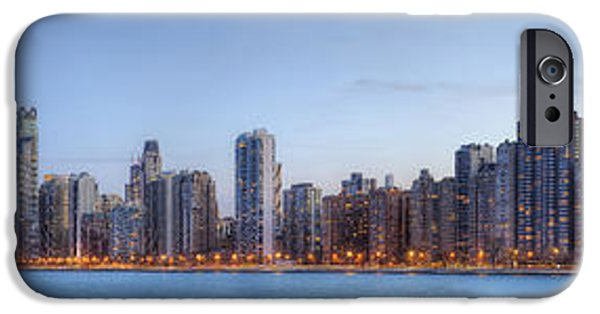 Willis Tower iPhone Cases - Chicago Skyline Night Panorama iPhone Case by Shawn Everhart