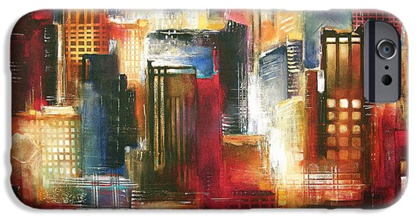 Chicago Paintings iPhone Cases - Chicago Skyline - One Evening in Chicago iPhone Case by Kathleen Patrick