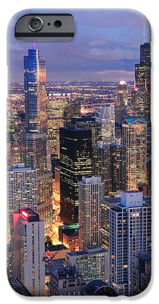 Willis Tower iPhone Cases - Chicago skyline panorama aerial view iPhone Case by Songquan Deng