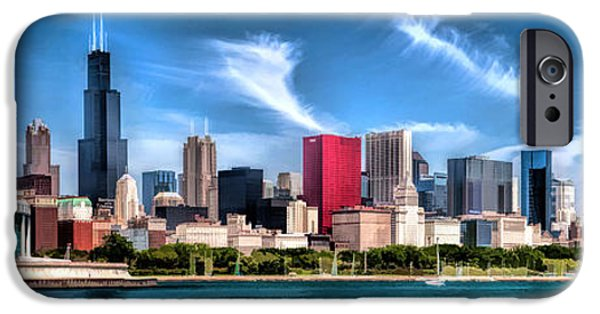 Grant Park Paintings iPhone Cases - Chicago Skyline Panorama iPhone Case by Christopher Arndt