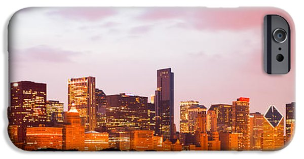 Sears Tower iPhone Cases - Chicago Skyline Panorama Photo at Dusk iPhone Case by Paul Velgos