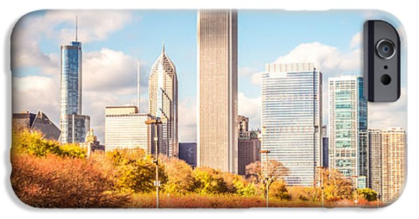 Chicago iPhone Cases - Chicago Skyline Panorama Photo iPhone Case by Paul Velgos