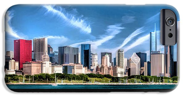 Chicago Paintings iPhone Cases - Chicago Skyline Panorama Poster iPhone Case by Christopher Arndt