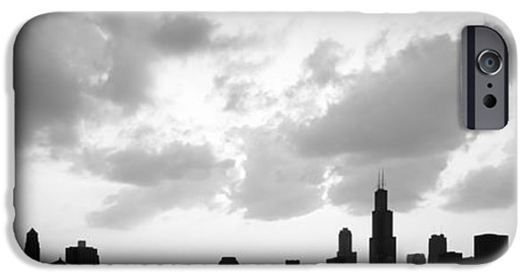 Sears Tower iPhone Cases - Chicago Skyline Panorama Silhouette Photo iPhone Case by Paul Velgos