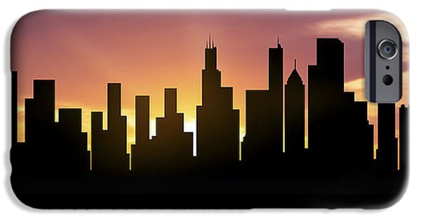 Sears Tower Mixed Media iPhone Cases - Chicago Skyline Panorama Sunset iPhone Case by Aged Pixel