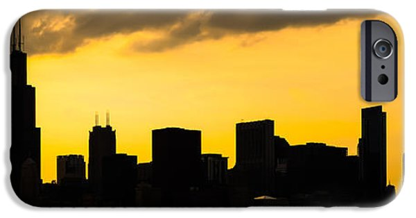 Sears Tower iPhone Cases - Chicago Skyline Panorama Sunset Photo iPhone Case by Paul Velgos