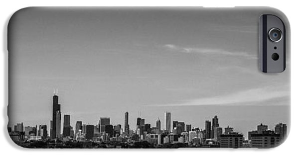 Chicago Cubs iPhone Cases - Chicago Skyline Panoramic Black and White iPhone Case by David Haskett