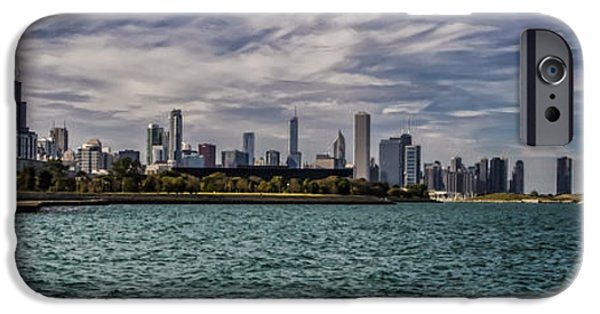 Soldier Field iPhone Cases - Chicago Skyline panoramic crop iPhone Case by Sven Brogren
