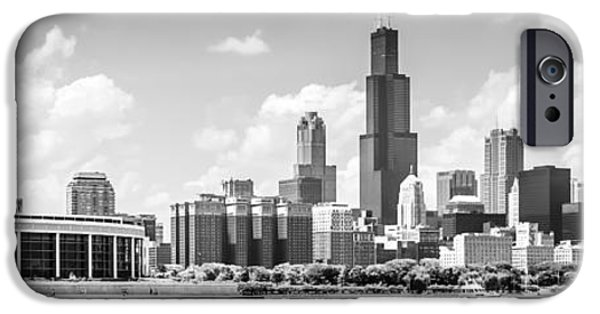 Sears Tower iPhone Cases - Chicago Skyline Panoramic Picture in Black and White iPhone Case by Paul Velgos