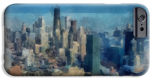 Willis Tower iPhone Cases - Chicago Skyline Photo Art 06 iPhone Case by Thomas Woolworth