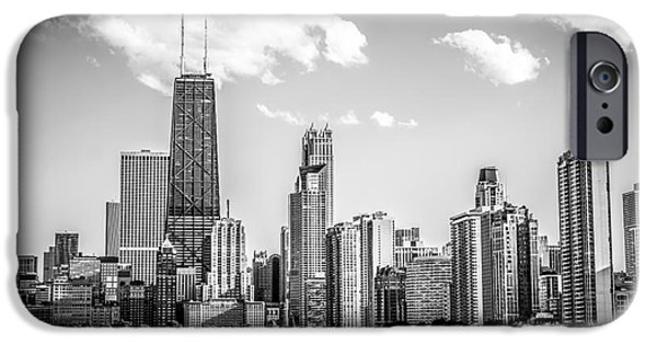Hancock Building iPhone Cases - Chicago Skyline Picture in Black and White iPhone Case by Paul Velgos