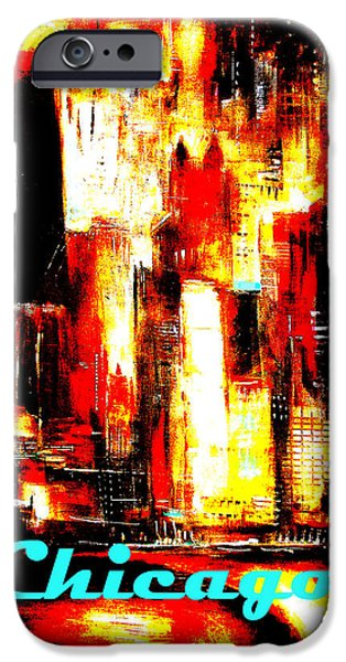 Chicago Paintings iPhone Cases - Chicago Skyline Poster - Red Hot Chicago iPhone Case by Kathleen Patrick