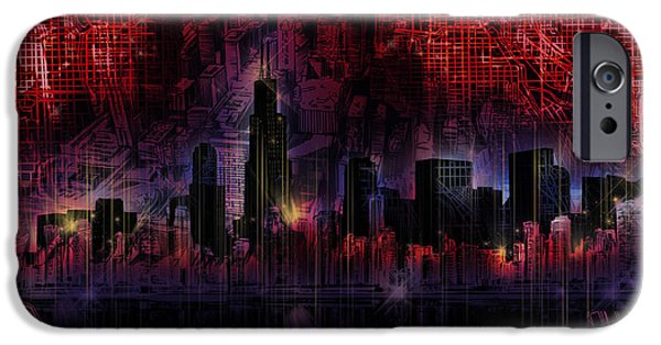 Willis Tower iPhone Cases - Chicago Skyline Red Version iPhone Case by MB Art factory