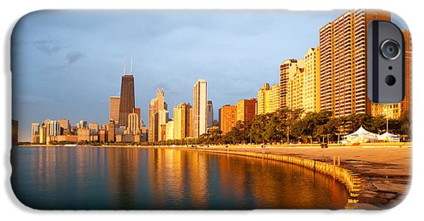 Sun iPhone Cases - Chicago Skyline iPhone Case by Sebastian Musial